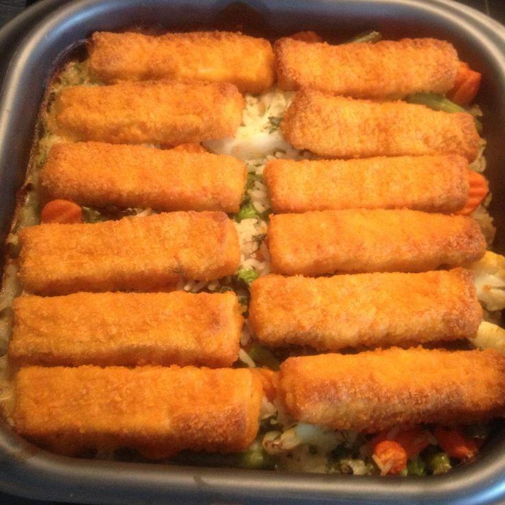 Rezept Fischstäbchen-Auflauf...ideal für Kinder von susi-knalltüte - Rezept der Kategorie Hauptgerichte mit Fisch & Meeresfrüchten