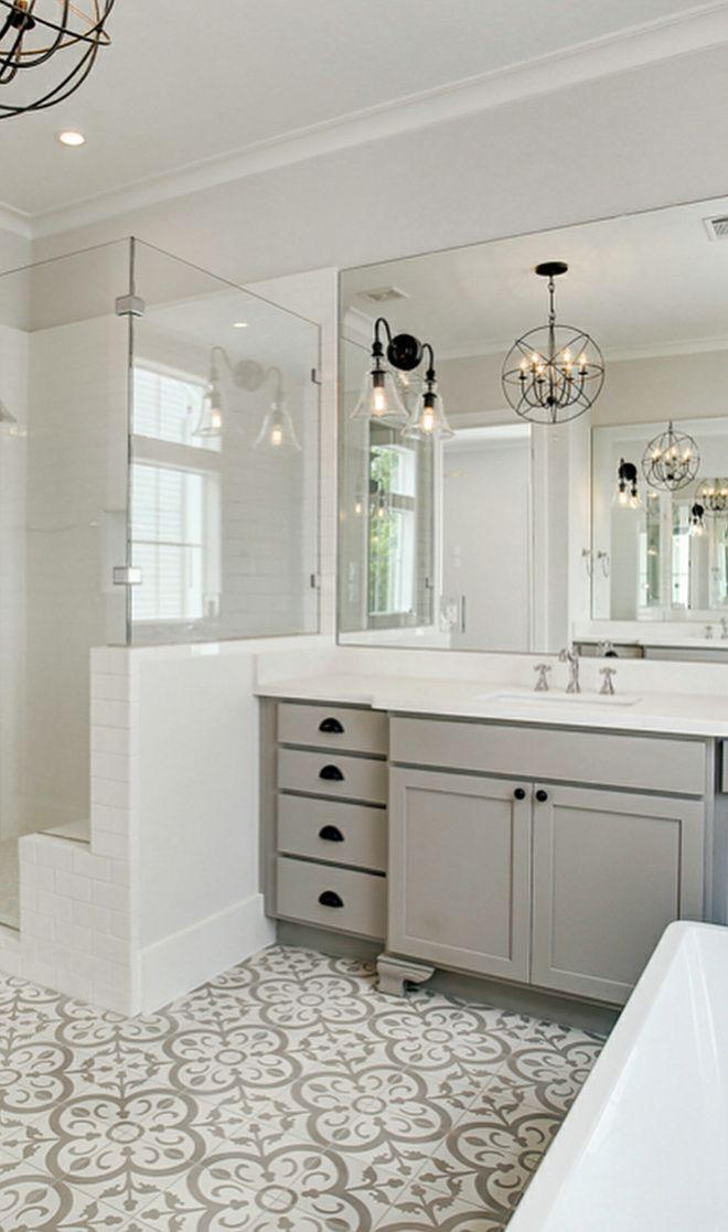 Badezimmer mit grauer Zementfliese und grauem Schrank. Schrankbein vor …  #badezimmer #bathroomtileideas #grauem #grauer