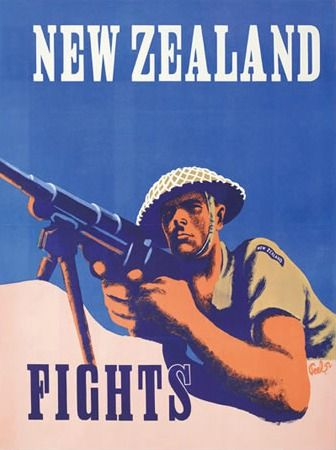 """Second World War Poster """"New Zealand Fights"""" 