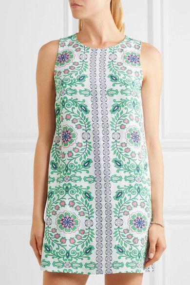 Tory Burch - Garden Party Printed Linen-blend Mini Dress - Green -