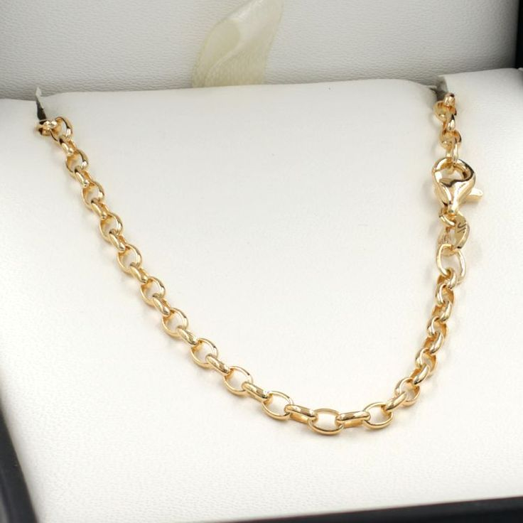 45cm Yellow Gold Oval Belcher Chain Necklace - GN-BO1