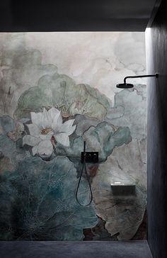 bathroom mural fresco