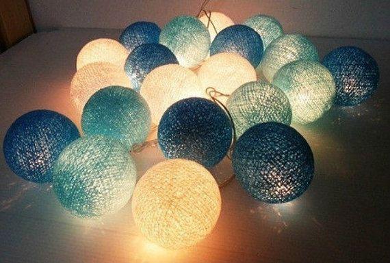 20 tonalità blu cotone palla String luci per partito arredamento, arredamento casa, patio matrimonio, 20 piecesindoor stringa luci camera lucine