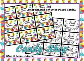 Candy themed behavior punch cards - color and black and wh
