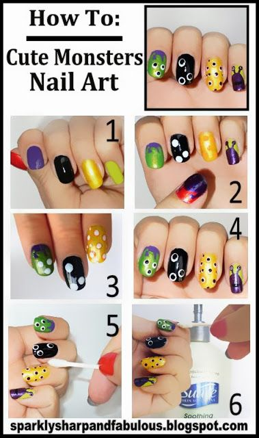 Cute Monsters!! | Halloween nail art, Monster nails ...