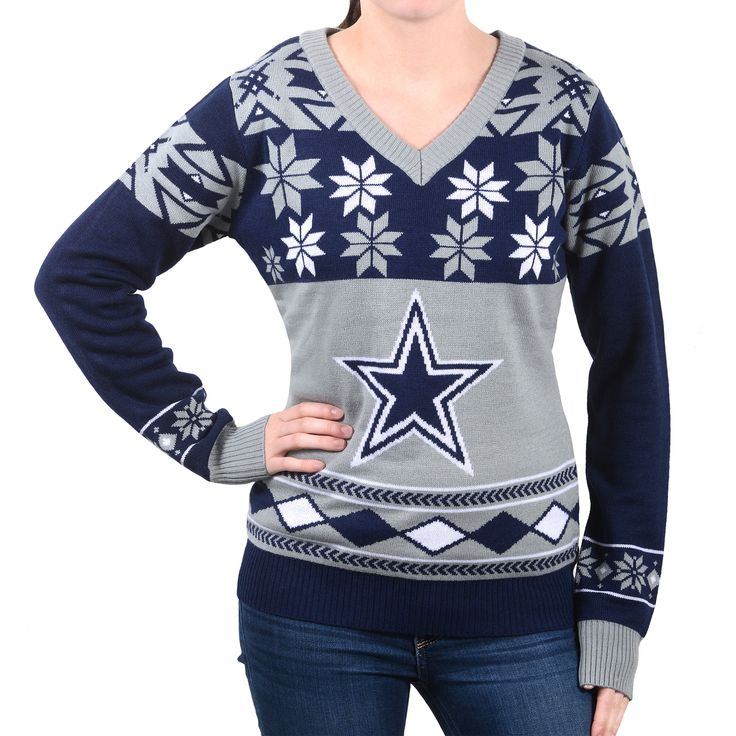 "Dallas Cowboys Women's Official NFL """"Big Logo"""" V-Neck Sweater (Expected For September Shipment)"