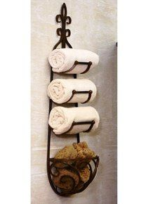 Tuscan/Country Rustic Wrought Iron Towel Rack w Basket