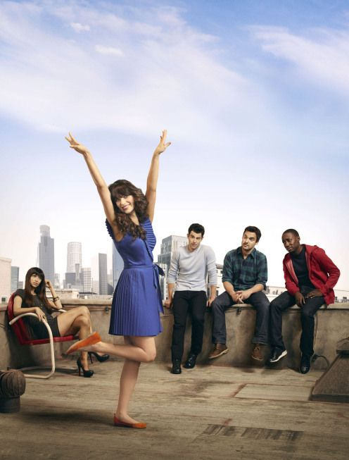 Pictured L-R: Hannah Simone, Zooey Deschanel, Max Greenfield, Jake Johnson and Lamorne Morris from NEW GIRL on FOX.