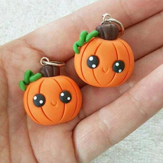 Kawaii Halloween Pumpkin, Pumpkin Polymer Clay Charm, Polymer Clay Pendant, Halloween, polymer clay, clay pendant, Kawaii, Chibi, Clay Charm