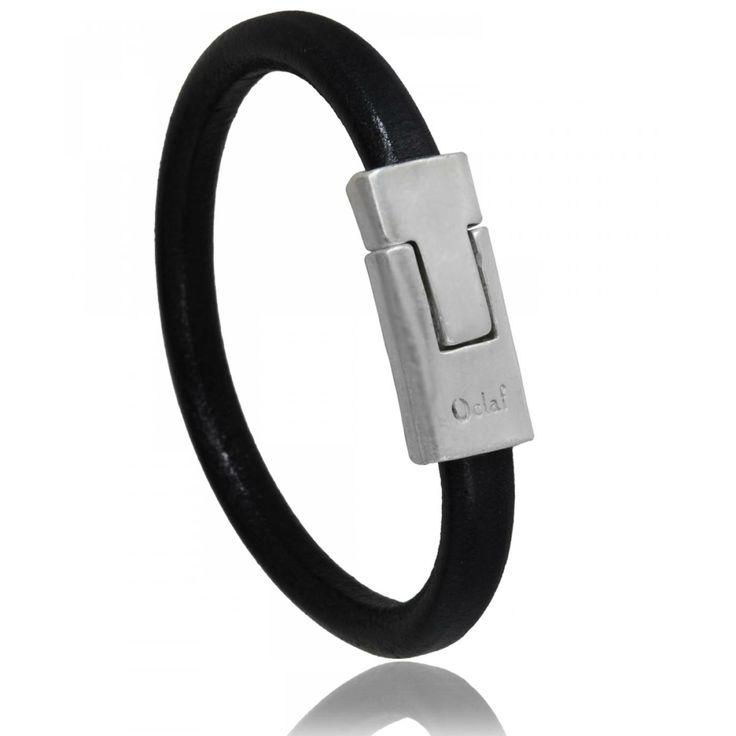 Bracelet homme cuir noir Lyon - Oclaf