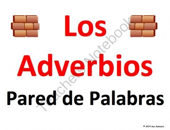 Spanish Adverbs Word Wall Classroom Signs - Los Adverbios from Sue Summers on TeachersNotebook.com -  (51 pages)  - 51 signs containing 137 words. Los adverbos, Spanish grammar.