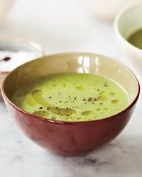 Zucchini-and-Watercress Soup | Sophie Dahl likes eating peppery watercress in the spring and has figured out a way to highlight its bright flavor in this silky soup. A single tablespoon of cream gives the vivid green soup a touch of richness.