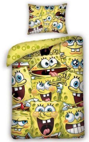 SpongeBob - Ložní souprava. Spánek jako v bavlnce přinese Vašim dětem kvalitní SpongeBob ložní souprava s motivem spousty obličejů, které mořská houba SpongeBob umí. Z druhé strany povlečení jsou bublinky.