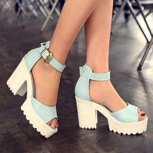 Tamaño grande 2015 nueva moda grueso tacones altos zapatos de mujer para mujer del verano las sandalias de punta abierta de cuero de la pu plataforma hebilla zapatos(China (Mainland))