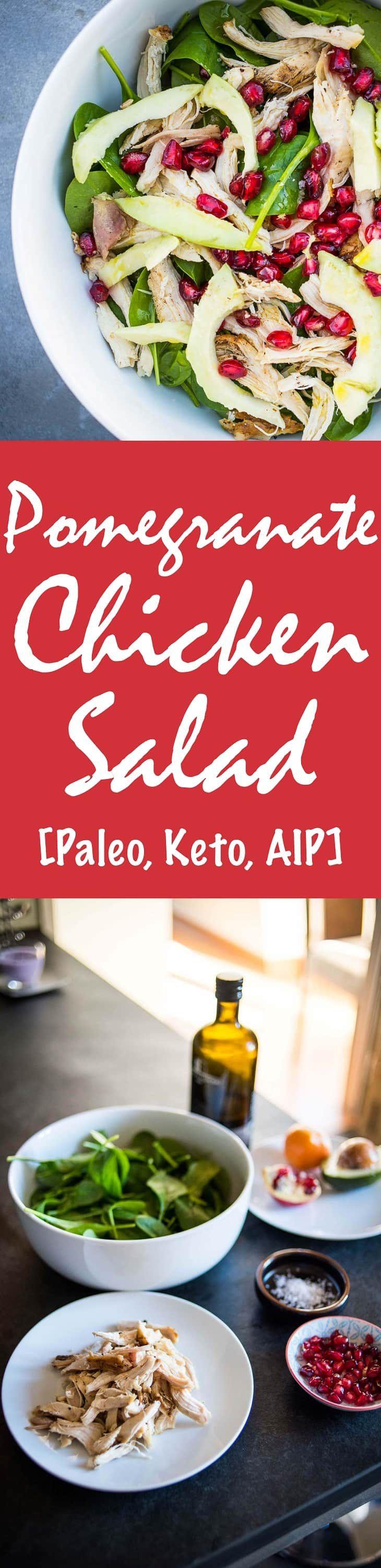 Pomegranate Chicken Salad Recipe [Paleo, Keto, AIP] #paleo #keto #aip - http://paleomagazine.com http://paleomagazine.com/pomegranate-chicken-salad-recipe