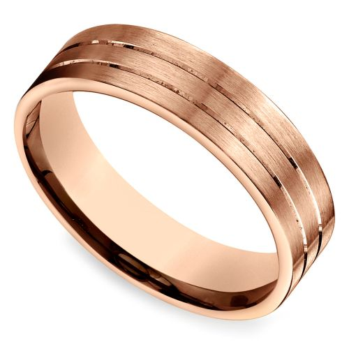 carved satin mens wedding ring in rose gold httpswwwbrilliance - Wedding Ring Photos