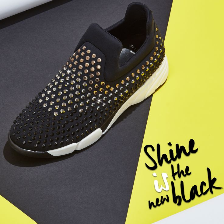 """""""Shine is the new Black""""  Black #ShineBabyShine sequins sneakers #FW15"""
