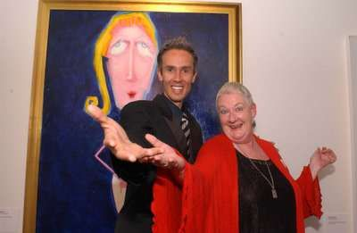 Australian artist Simon Brushfield with Actor Anne Phelan...Love is the answer to the HIV AIDS problem