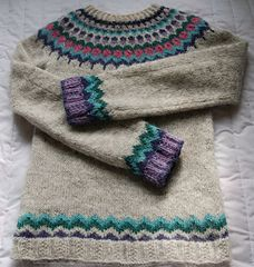 Icelandic-style yoked sweater knitted bottom up and in the round