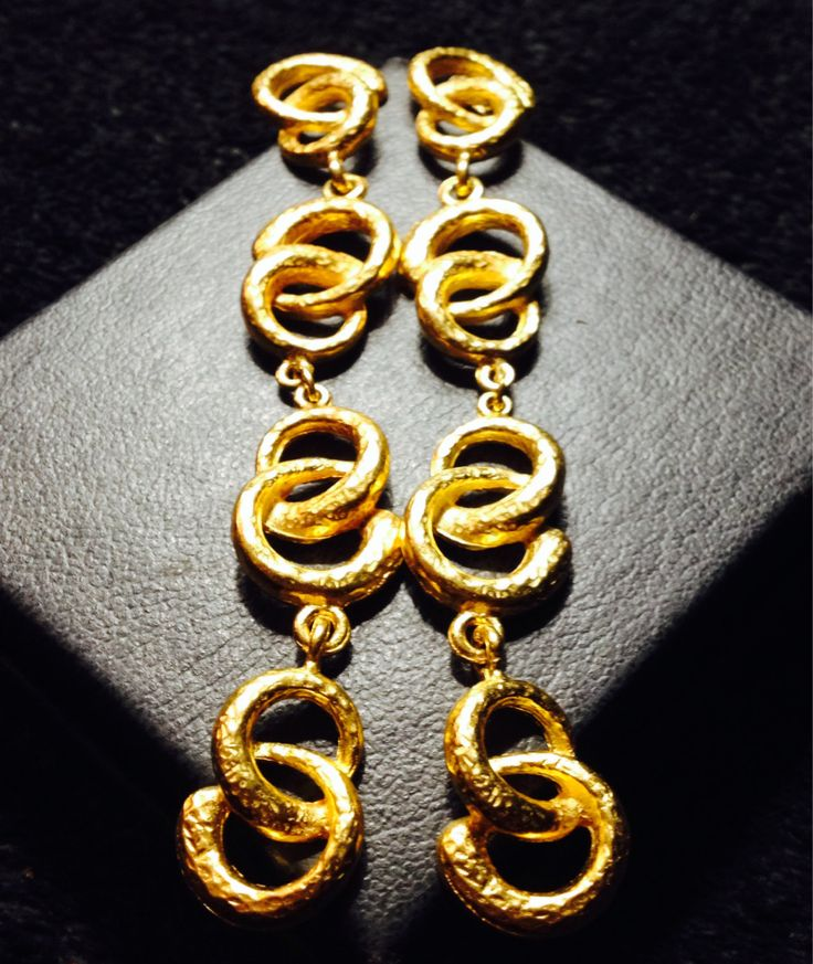 Vintage Gold 1970's dangle modern style earrings  by PastFunk on Etsy