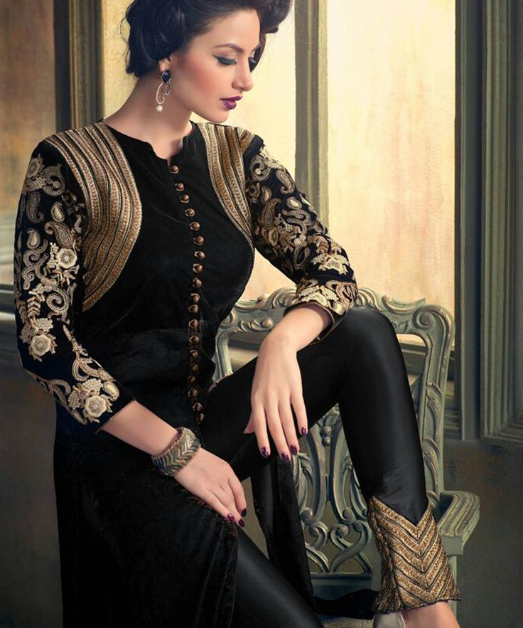 #OnlineShoppingIndia Store sell #Designer Heavy Embroidered on Velvet With Black Color top And Satin Bottom With Chiffon Dupatta #semi-stitched #salwar-suit #dress materials.