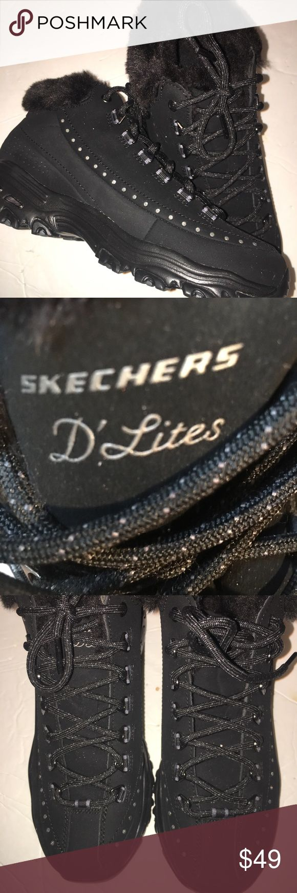 New sketchers D'Lites Really cute! Has slight silvery sparkles throughout the black with a trim of silver dots. Fur lined. No box Skechers Shoes Sneakers
