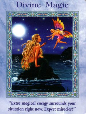 """This card is from the """"Magical Mermaids & Dolphins"""" Oracle Card Deck by Doreen Virtue. Congratulations! The Divine Magic card…"""