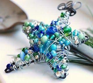 Handmade Beaded Wire Star: Decks The Hall, Christmas Crafts, Beads Ornaments, Blue Christmas, Crafts Idea, Wild Woman, Wild Women, Christmas Ornaments, Beads Stars
