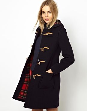 Gloverall+Slim+Long+Duffle+Coat+in+New+Check+Back+Wool+(with+tan+leather+toggles)