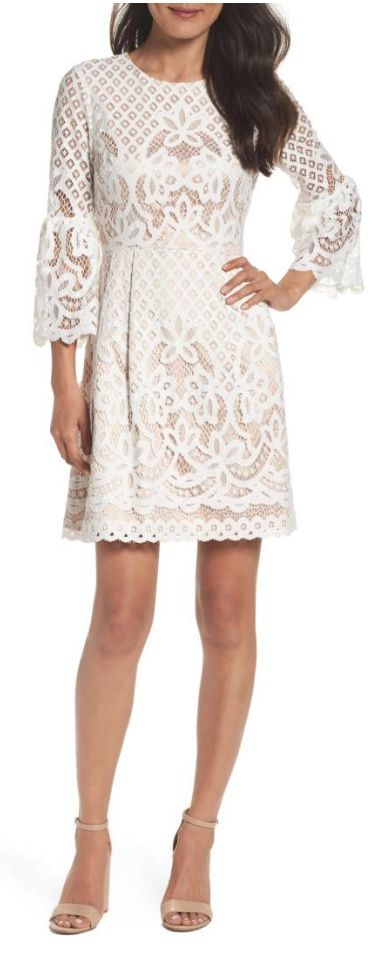 Gorgeous white lace bell sleeve fit & flare - would be the loveliest rehearsal dinner dress #littlewhitedress #dress #rehearsaldinner