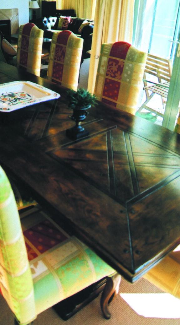 Pedestal Parquet Table
