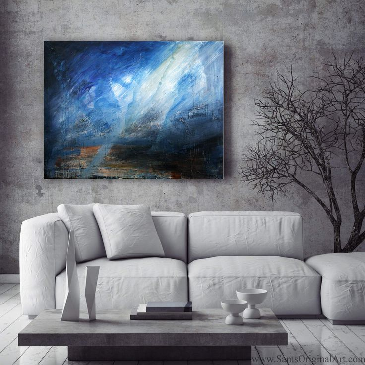 Cerulean: 'Cerulean'  displays glorious splashes in shades of blue, with a mysterious, amorphous angelic form, bathed in rays of white light, thrusting upwards to the heavens above. This vibrant painting will make a bold statement to any room.