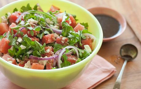 I made this Watermelon and Arugula Salad from Whole Foods Market today