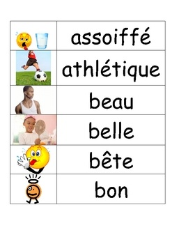 This file contains 94 illustrated French adjectives in a word wall format. The adjectives range from basic ones, such as bon, mauvais, grand, belle to slightly less common ones such as rugueux et malodorant. All adjectives in this word wall are presented in their singular masculine form.