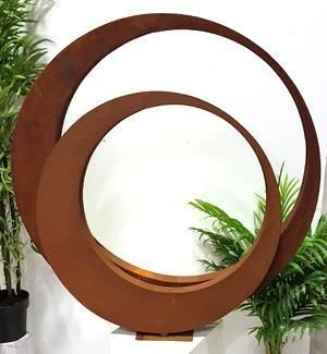 Rusted Twin Ring Sculpture Garden Art $749.95
