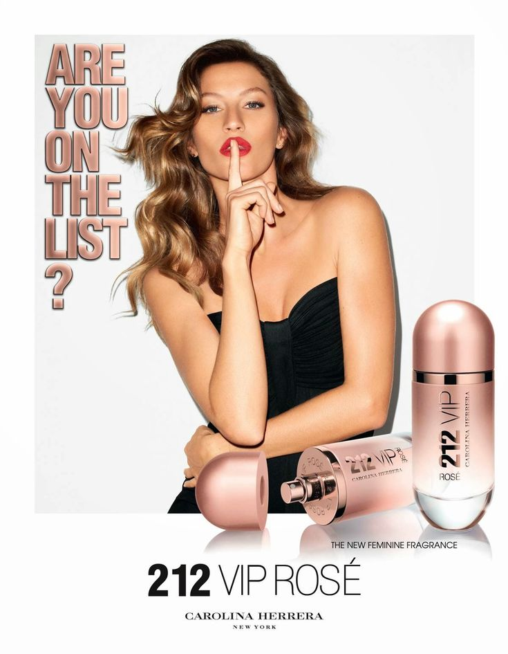 Carolina Herrera 212 VIP Rose Campaign featuring Gisele Bundchen and Marlon Teixeira