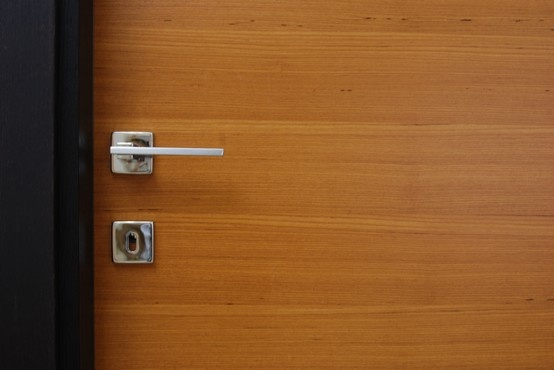 Door handle on teak door
