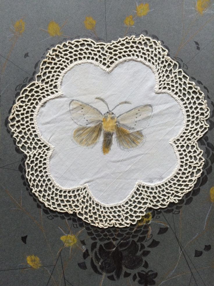 "Original Art: ""Little Moth"" by ArtLisbethThygesen on Etsy Moth, critter, butterfly, doily, embroidery, crochet, grey, white, yellow"