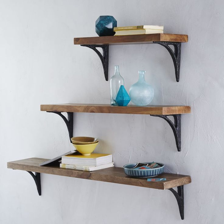 Reclaimed Wood Shelving + Modern Brackets