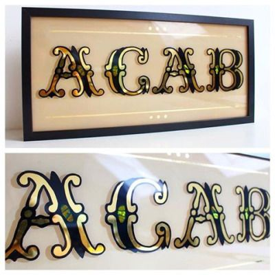 Alex May Hughes www.alexmayhughes.co.uk Fancy 2015 ACAB update; 23ct gold letters with green-gold pearl shell inlay ✨