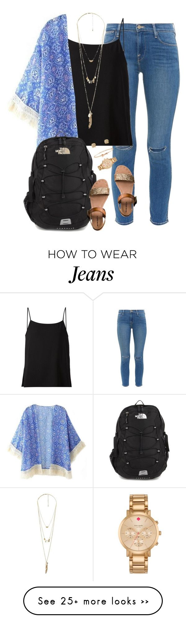 """what I wore to school today!✌️"" by kaley-ii on Polyvore featuring Frame Denim, Helmut Lang, Charlotte Russe, The North Face, Mossimo Supply Co. and Kate Spade"