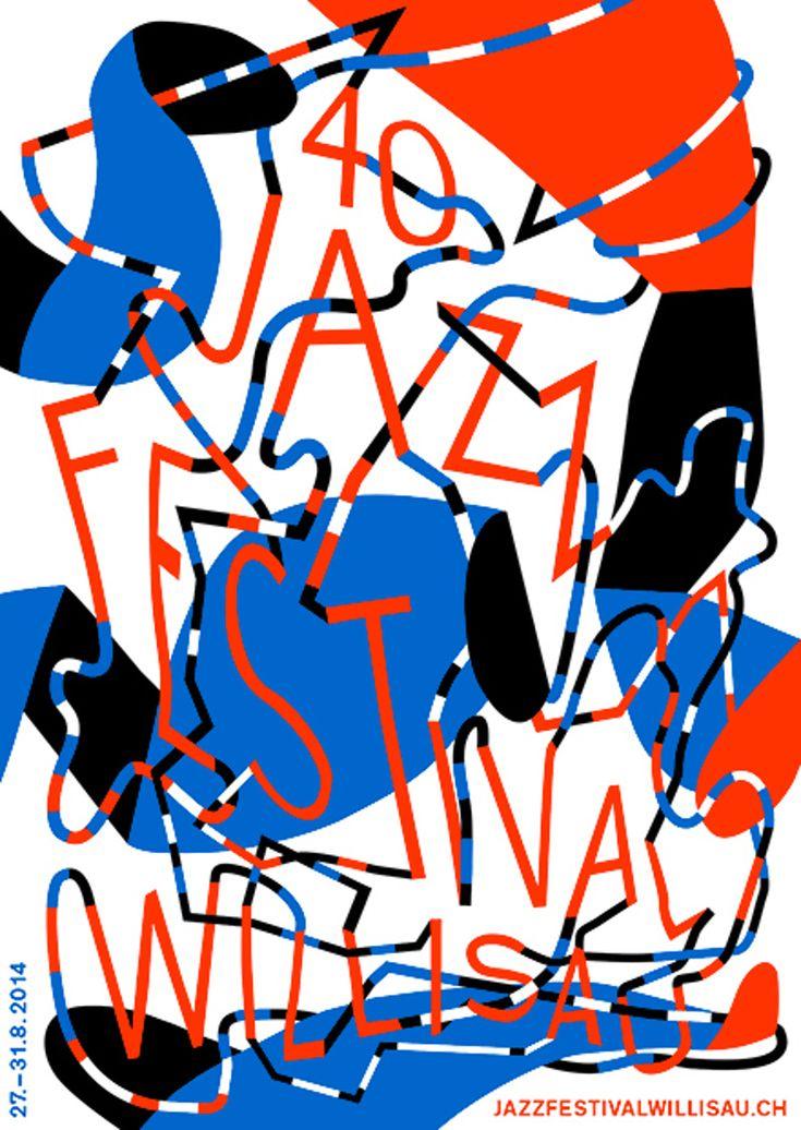"""jazz festival willisau"" by annik troxler / 2014 / silkscreen, 1280 x 895 mm"
