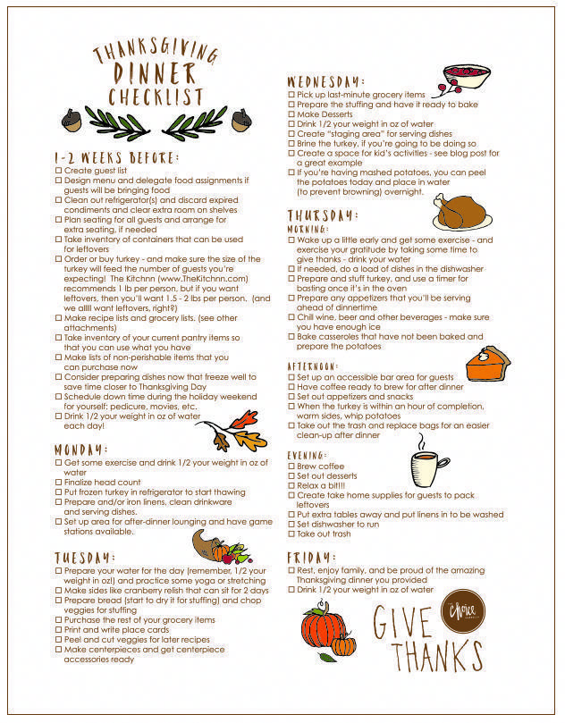 FREE Thanksgiving Printable - Thanksgiving Day Checklist