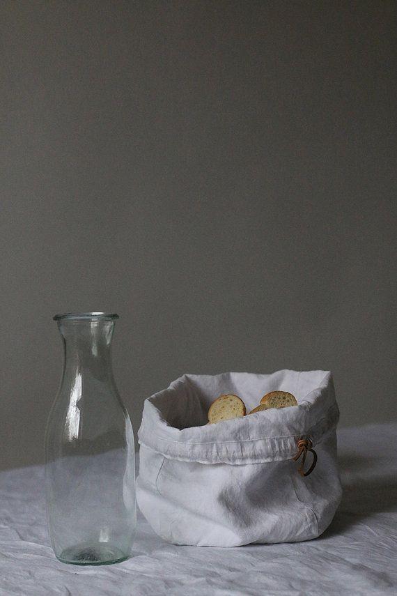 Bread bag White linen bread bag Bread basket by MadameLampiere