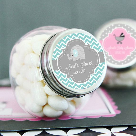 Baby Shower Jars  Personalized Baby Shower Favor Jars by ModParty $20