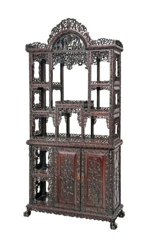 """An exceptional Chinese hardwood display cabinet"" (Lot Number 37) 