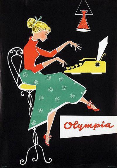 Olympia typewriter vintage ad art poster, designer unknown, ca. 1950