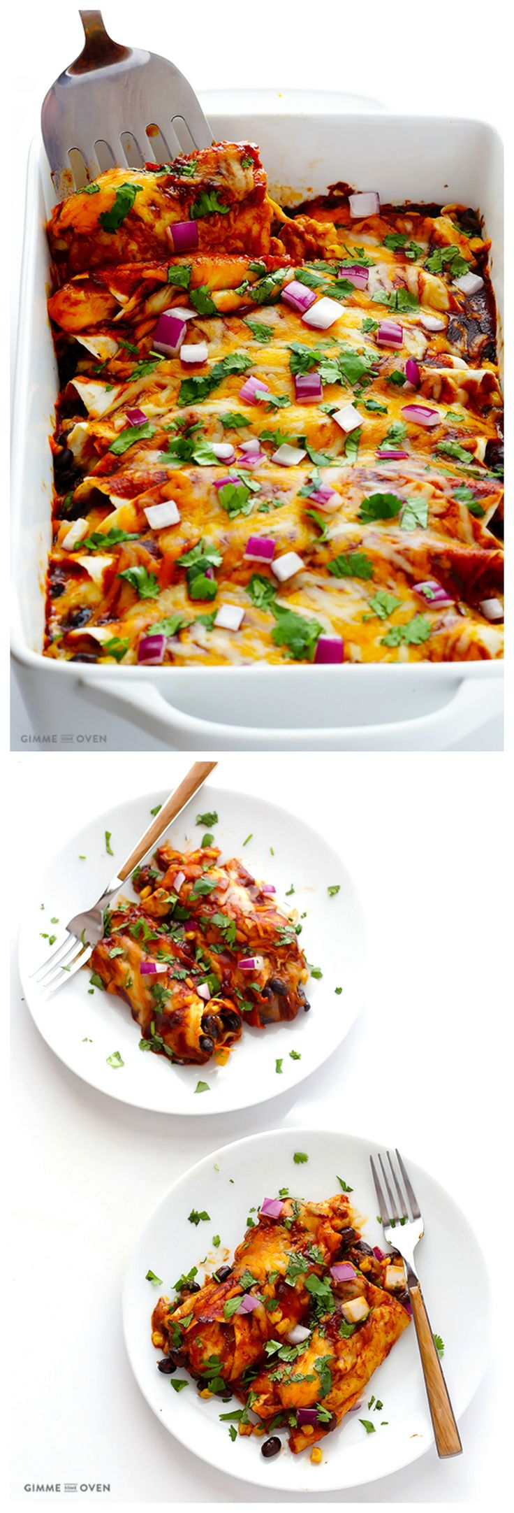 BBQ Chicken Enchiladas -- add a little bbq sauce to traditional enchiladas to kick them up a notch! | gimmesomeoven.com