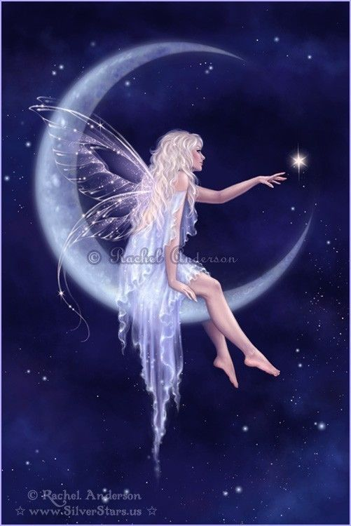 Title: Birth of a Star    An elegant fairy sits on the moon and reaches out to wish on a star.    Available sizes:  5x7  8x12    This print comes