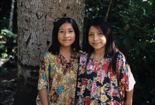 two beautiful Lacandon Maya girls who live in the area of Lacanja Chiapas